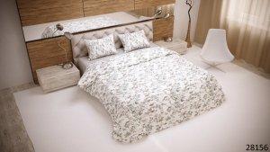 Pościel bawełniana 200x220 Biała w Kwiaty Luxury 100% bawełna. Pościel w kwiaty 200x220