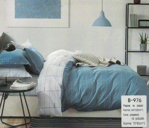 Pościel Mengtianzi 160x200 Niebieska - Szara w Kratkę 100% bawełna wz B-976
