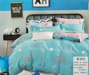 Pościel Mengtianzi Młodzieżowa Niebieska - Różowa 160x200 100% bawełna B-613