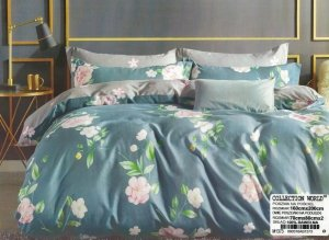 Pościel Collection World 160x200  Morska Zieleń w Kwiaty100% bawełna wz 1373