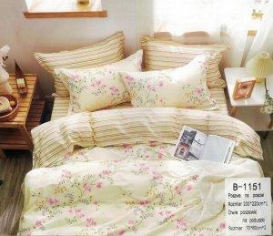 Pościel Mengtianzi Ecru w Kwiaty  200x220 100% bawełna B-1151. Pościel 200x220.