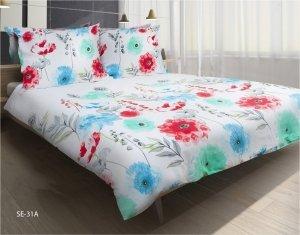 Pościel satynowa Matex Exclusive 160x200 Biała w Kwiaty wz SE-31A