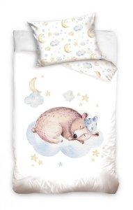 Pościel niemowlęca 100x135 Ecru z Misiem  Carbotex 100% bawełna