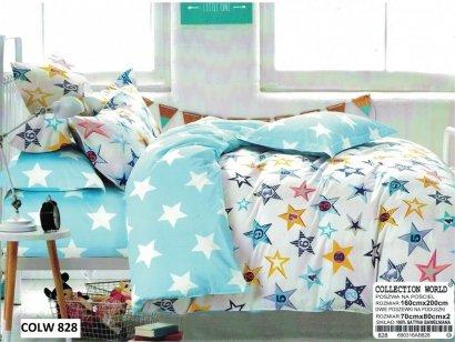 Pościel Collection World Biało - Niebieska w gwiazdki 160x200 100% bawełna wz 828 Młodzieżowa