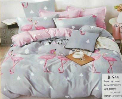 Pościel Mengtianzi Szara - Różowa we Flamingi 200x220 100% bawełna B-944. Pościel we Flamingi 200x220.
