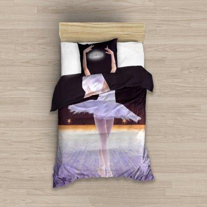 Pościel młodzieżowa 3D dla dziewczynki - Baletnica 140x200 Carbotex Kolorowa 100% bawełna NL 183011