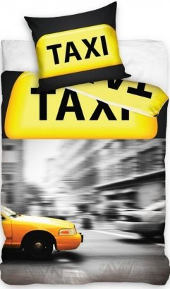 Pościel młodzieżowa 3D 140x200 cm Żółta Taksówka Nowy Jork Carbotex 100% bawełna. Pościel młodzieżowa Taxi New York