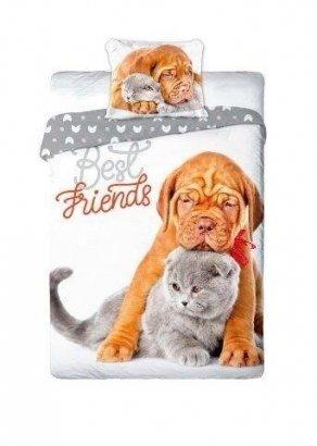 Pościel młodzieżowa 3D 160x200 Piesek - Kotek Faro 100% bawełna. Pościel 3D z kotkami160x200 Best 013