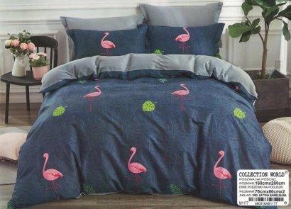 Pościel Collection World 160x200 Granatowa - Szara we Flamingi 100% bawełna wz 1177