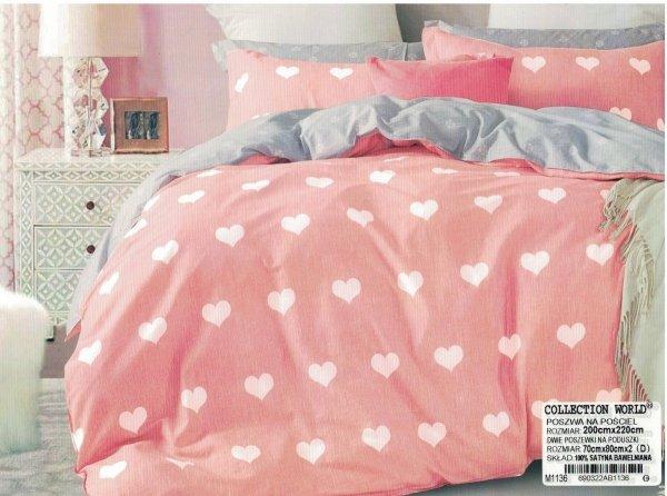 Szaro - Różowa pościel w Serca 200x220 Collection World