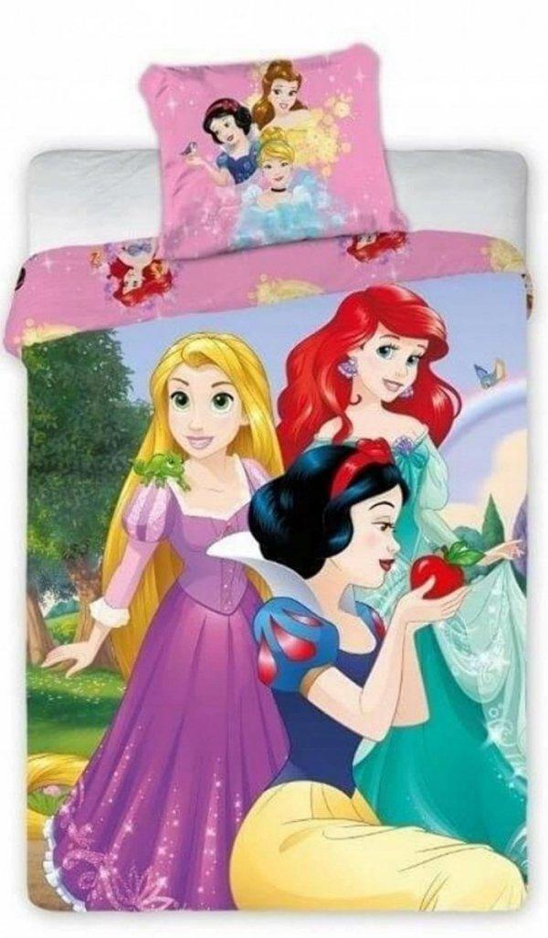Pościel dla dziewczynki z księżniczkami Disneya 160x200 Różowa