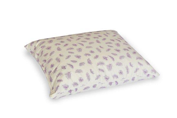 Poduszka 50x60 z piór dartych Ecru w fioletowe piórka