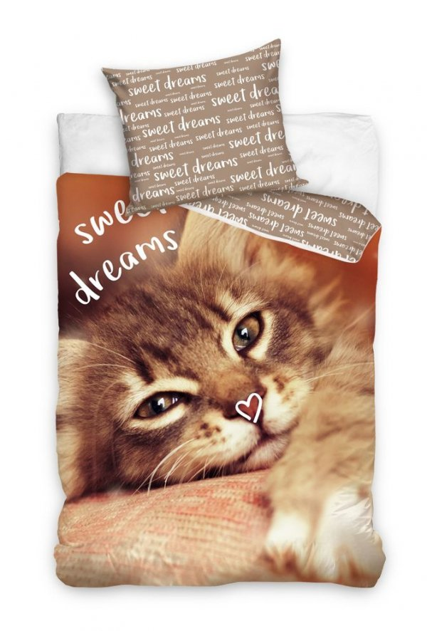 Pościel młodzieżowa 3D 160x200 z Kotem Carbotex 100% bawełna. Pościel 3D z kotkiem 160x200