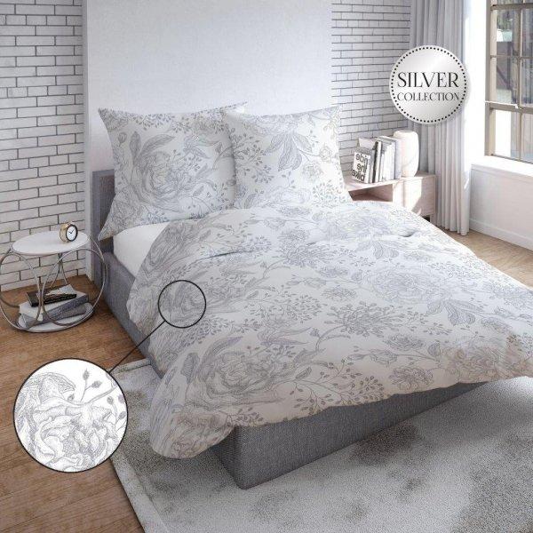 Biało - Szara pościel w Kwiaty 160x200 bawełna satynowa - Tęcza