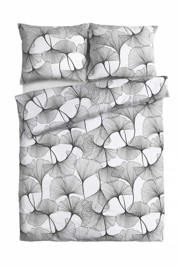 Biała satynowa pościel w kwiaty 160x200 Andrpol