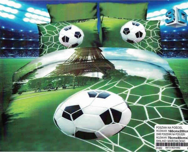Pościel 3D Piłka Nożna. Pościel Młodzieżowa 3D 160x200 z Piłą Nożną. Pościel dla kibica.