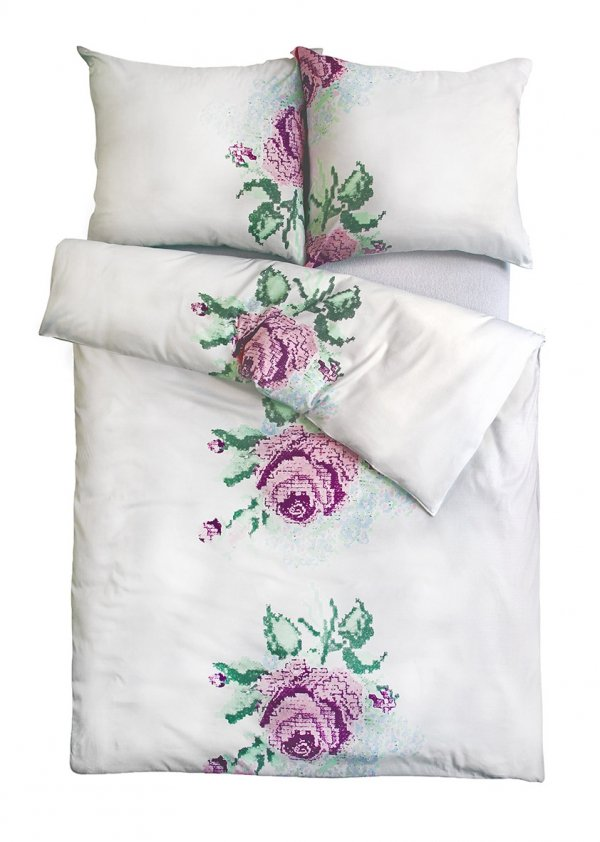 Biała pościel satynowa Andropol w Kwiaty 160x200 wz 18 505/1