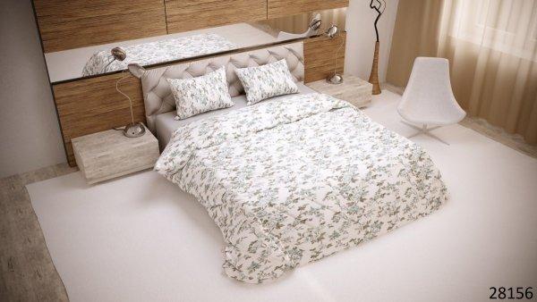 Biała pościel w Kwiaty 200x220 Luxury 100% bawełna