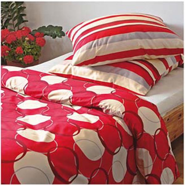 Pościel satynowa Andropol 160x200 Czerwona w Grochy wz 17541