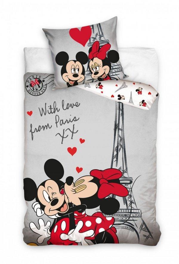 Szara pościel Paris Mickey Mouse - Myszka Miki 140x200 100% bawełma