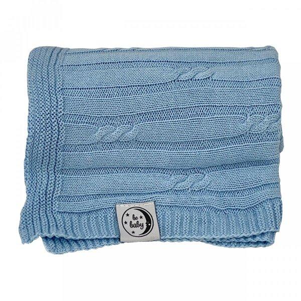 Niebieski kocyk dla niemowląt 75x100 - czysta bawełna