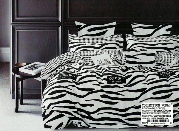 Biało - Czarna pościel 160x200, Collection World wzór 1458