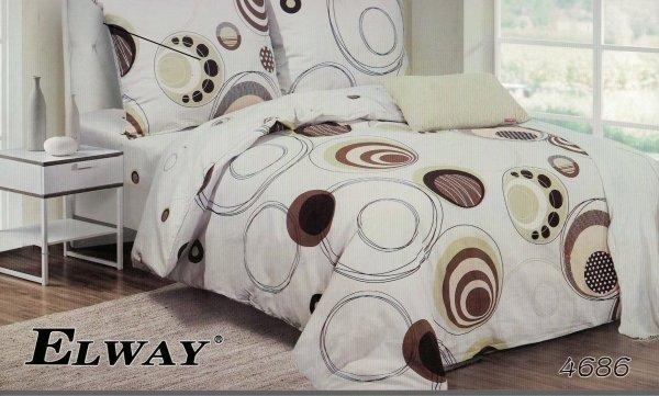 Beżowa - Brązowa pościel 160x200 cm Elway 4868
