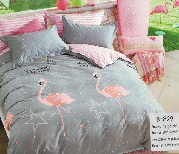 Szara pościel we Flamingi 200x220 - Mengtianzi