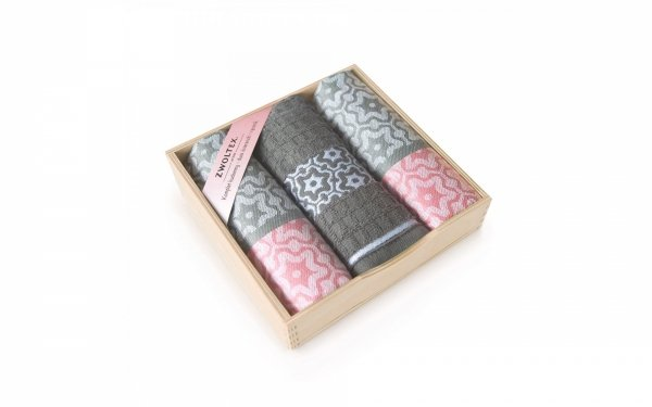Komplet antybakteryjnych ścierek kuchennych Zwoltex Marsala Różowy