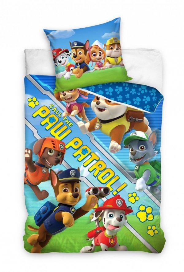 Pościel Psi Patrol 160x200 Niebieska dla dzieci Carbotex PAW 203032