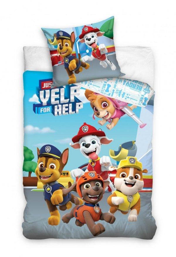 Niebieska Pościel dla dzieci Psi Patrol 160x200 Carbotex 100% bawełna PAW 201001
