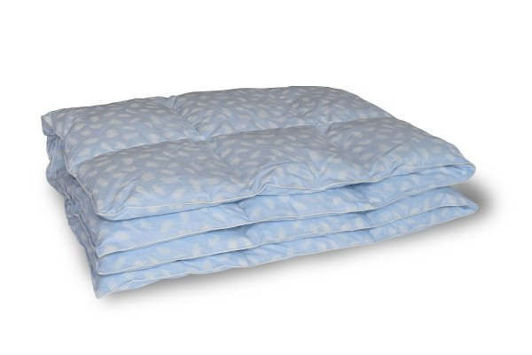 Kołdra półpuch 140x200 Niebieska w białe piórka