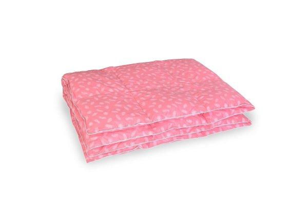 Kołdra z półpuchu 200x220 cm Różowa w białe piórka.