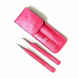Set of tweezers with pink glitter + case