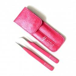 Pęsety z różowym brokatem + etui - Komplet