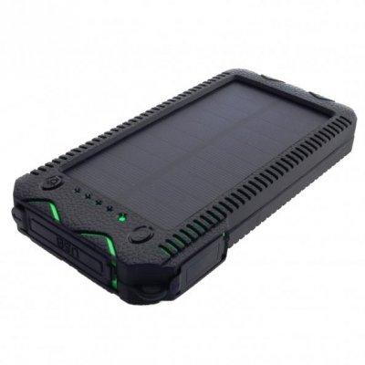 Ładowarka solarna PowerNeed S12000G (12000mAh; USB; kolor czarny, kolor zielony)