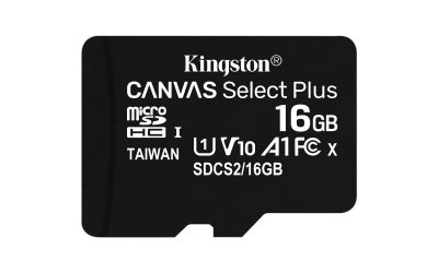 Karta pamięci z adapterem Kingston Canvas Select Plus SDCS2/16GB (16GB; Class 10, Class U1, V10; + adapter)