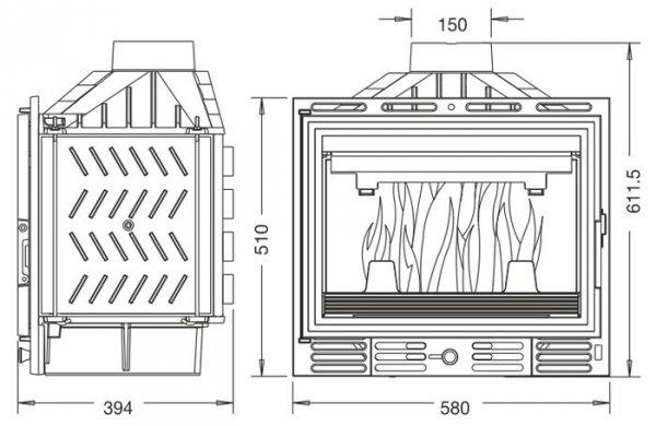 UNIFLAM 600 ECO z szybrem, doprowadzenie powietrza