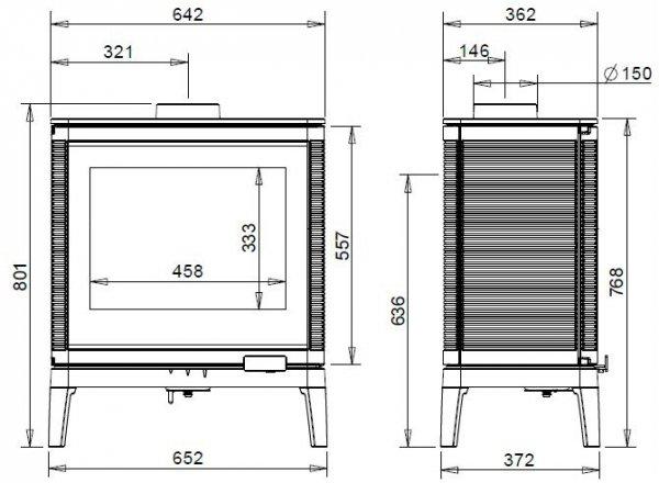 KAZAN GA czarne zdobienie szyby antracyt 9 kW