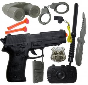 POLICJANT Zestaw PISTOLET 17w1 Strzałki KAJDANKI Odznaka