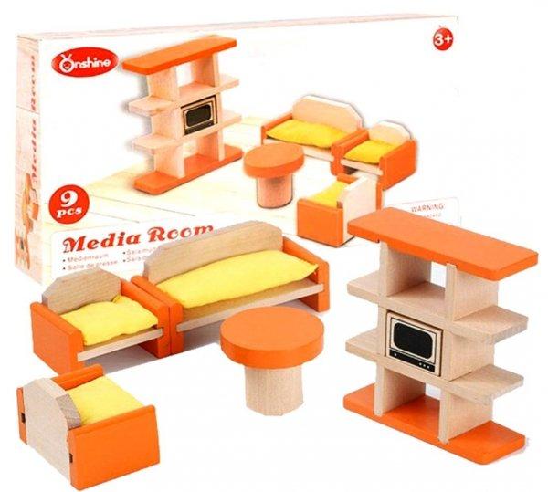 Drewniane MEBELKI dla Lalek SALON Stół Krzesła HH