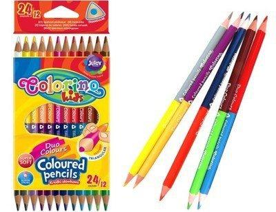 KREDKI Ołówkowe Dwustronne 24/12 kolorów  COLORINO Kids 33046