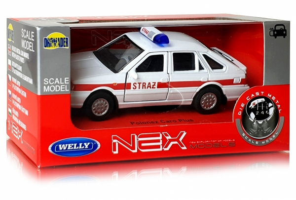 METALOWY MODEL STRAŻ Polonez 1:34 AUTO PRL Welly