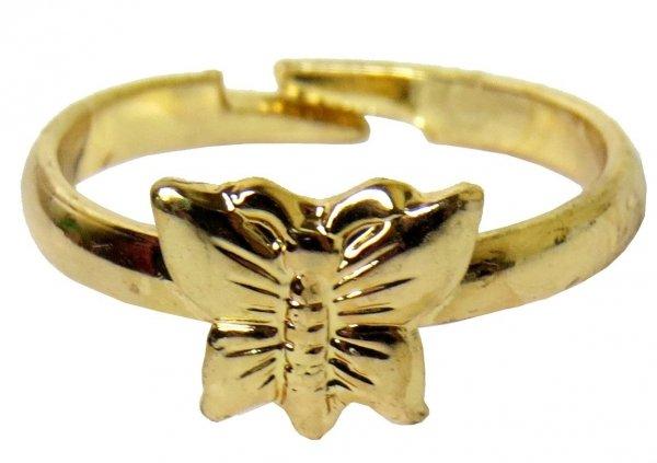 MOTYLEK Śliczny PIERŚCIONEK GOLD Biżuteria dla Dziewczynki