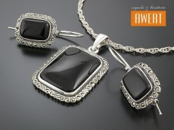 ALISE BLACK srebrny komplet biżuterii z kamieniami i markazytami