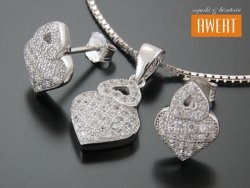 DARIS CRYSTAL srebrny komplet biżuterii z cyrkoniami