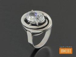 AISZA CRYSTAL srebrny pierścień z cyrkonią roz.14
