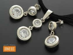 SAVA srebrny komplet biżuterii z dużymi cyrkoniami