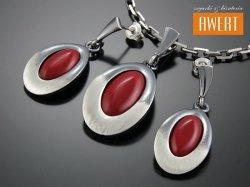 DONNA srebrny komplet biżuterii z czerwonym kwarcem