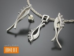LARNE CRYSTAL srebrny komplet biżuterii z cyrkoniami